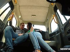 Czech babe gets into the hot taxi